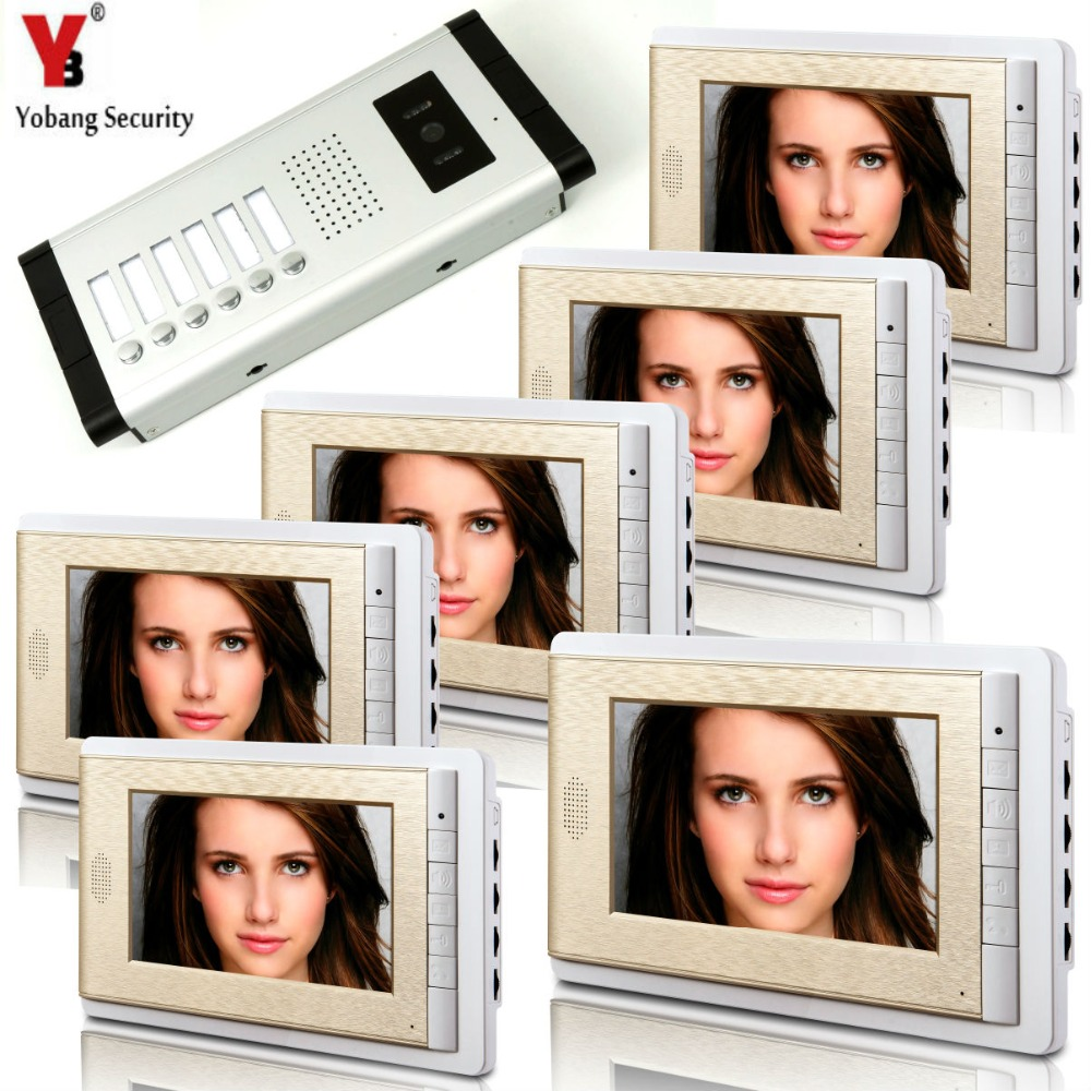 YobangSecurity 6 Units Apartment Intercom 7 Inch Monitor Video Intercom Doorbell Door Phone Video Intercom Entry Access SystemYobangSecurity 6 Units Apartment Intercom 7 Inch Monitor Video Intercom Doorbell Door Phone Video Intercom Entry Access System