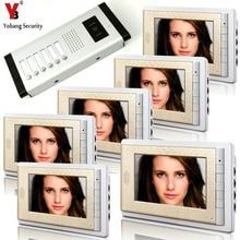 YobangSecurity 6 Units Apartment Intercom 7″ Inch Monitor Video Intercom Doorbell Door Phone Video Intercom Entry Access System