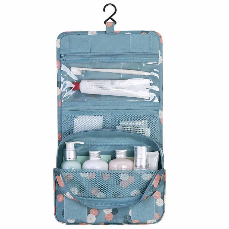 7f1d8913b0e2 Portable Folding Women Hanging Toiletry Bag Waterproof Polyester Flap  Travel Cosmetic Bag Fashion Floral Zipper Trunk Makeup Bag