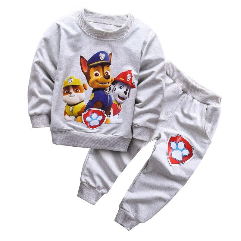 Новые 2017 Весна для маленьких мальчиков комплект одежды Повседневное Спорт patrulha PATA спортивный костюм для малышей Обувь для мальчиков одежда топ, футболка + Брюки для девочек