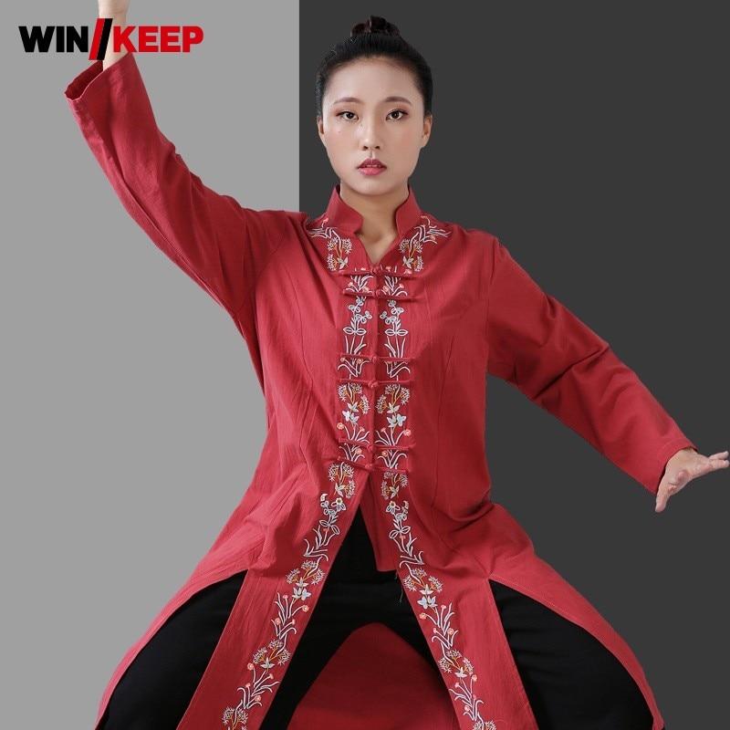 Femmes longue formation Tai Chi uniforme chemise Kung Fu Floral broderie col montant Arts martiaux coton linge chemises aile Chun hauts