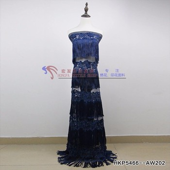 2018 high quality African lace fabric Tassels lace elastic French swiss lace royal blue for fashion wedding dress 5 yard/lot
