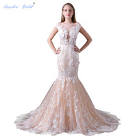 Sapphire Bridal 2018 New Arrival Vestido De Noiva Long Wedding Dress White Ivory Champage Wedding dress Cap Sleeve 3D Flower