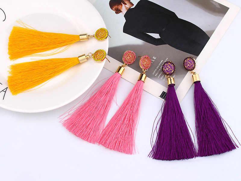 Bohemian Crystal Tassel Earrings Black White Blue Red Pink Silk Fabric Long Drop Dangle Tassel Earrings For Women Jewelry
