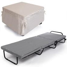 78 inch Portable Tri-Fold Foldable Metal Bed + Foam Mattress + 4 Wheels + Covers