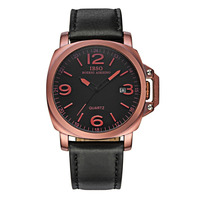 IBSO Top Quality Genuine Leather Strap Waterproof Watch For Men Luminous Quartz Watches S8113G