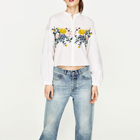 Embroidery Blouse Shirts Women Korean Foral Rose Autumn Long Sleeves Office Loose White Crop Tops Clothing