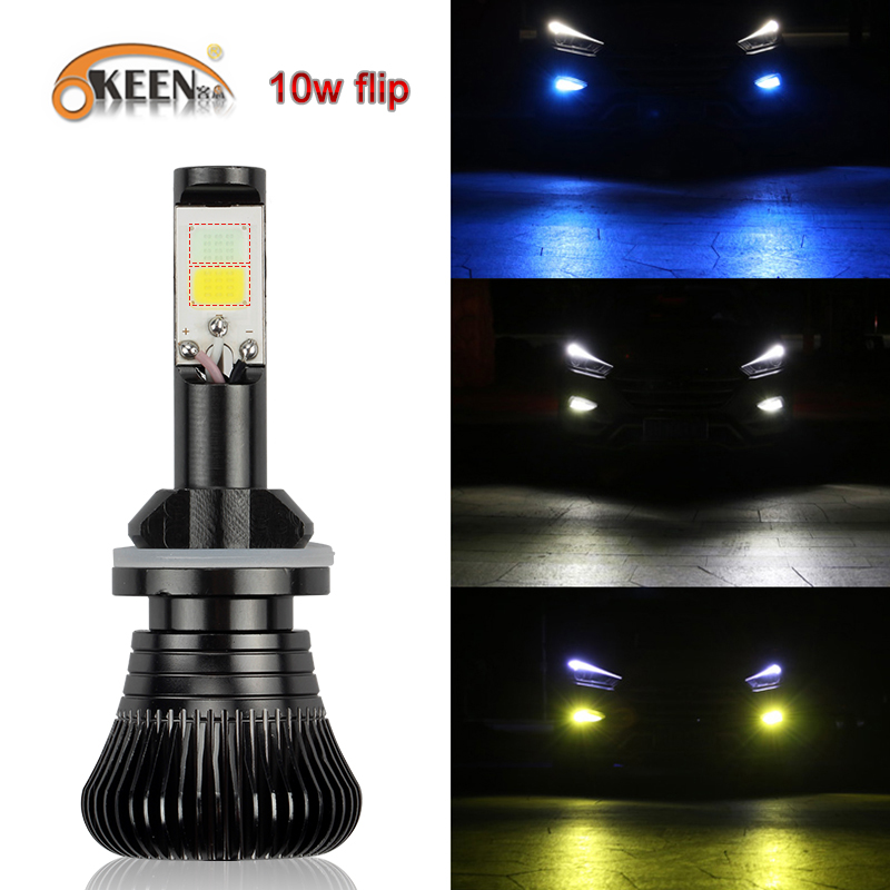 OKEEN 2pcs Car <font><b>led</b></font> White Blue Dual Color <font><b>headlight</b></font> H4 H7 <font><b>LED</b></font> Fog Light Bulb H1 H3 H8 H11 9005 880 9006 2400mL40W IP68 12V image