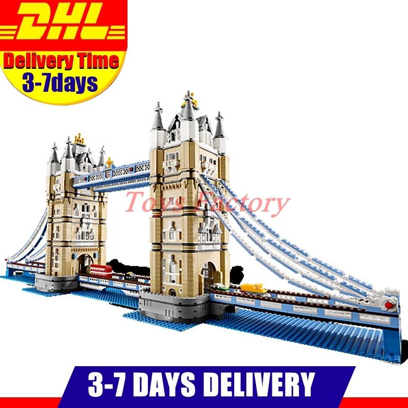 IN Stock DHL LEPIN 17004 4295 PCS  London Tower Bridge Building Block Set Kit Bricks Christmas Gift Clone 10214 in stock new lepin 17004 city street series london bridge model building kits assembling brick toys compatible 10214