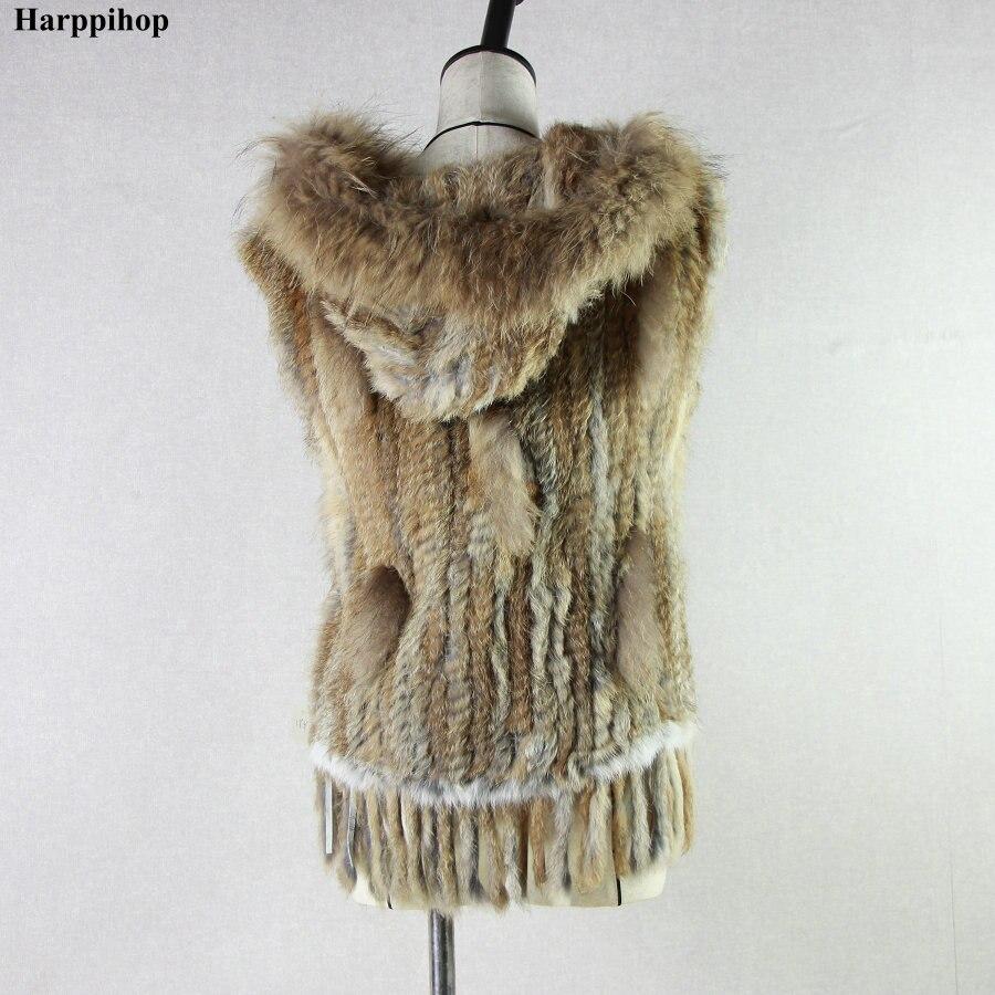 Harppihop mode konijnenbont vest wasbeer bont trimmen gebreide konijnenbont vest met capuchon bont vest gilet-in Echt Bont van Dames Kleding op  Groep 3