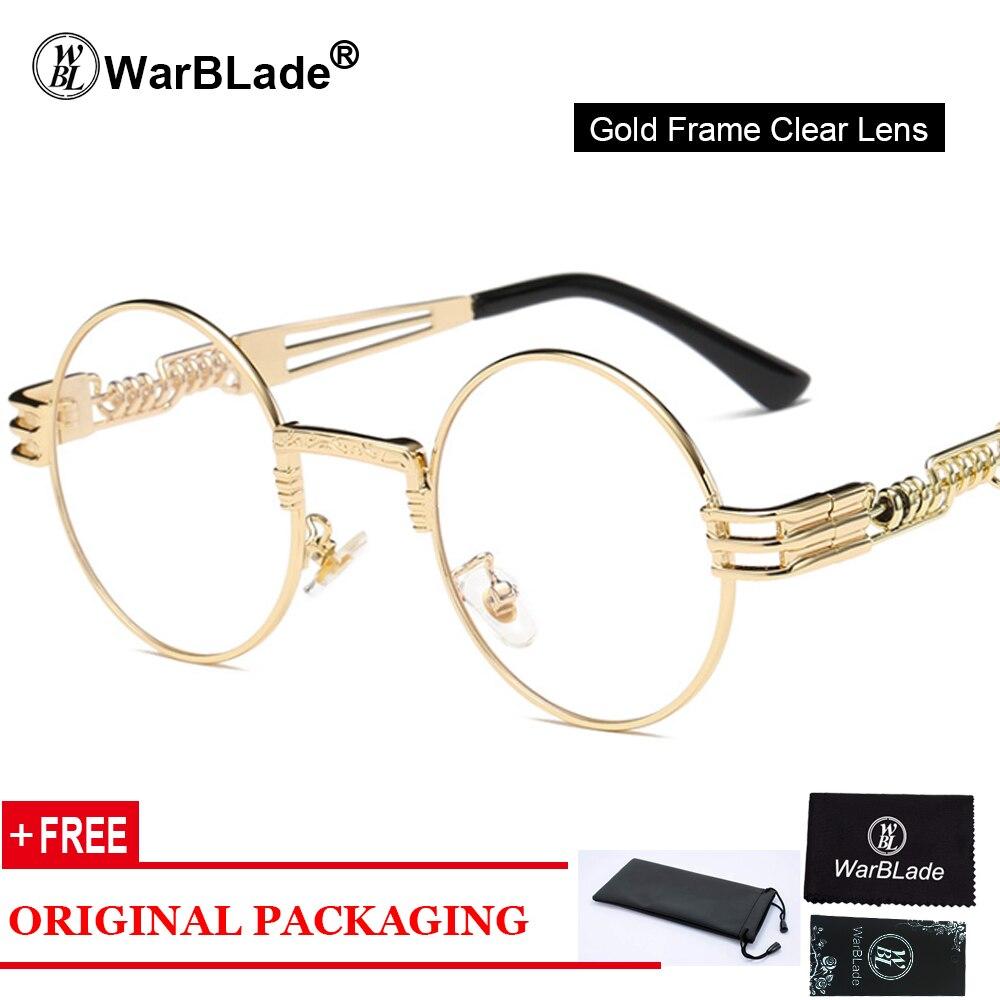 Gothic Steampunk Óculos De Sol Dos Homens do Metal Rodada Shades Masculino  Transparente Óculos de Sol 7692ee6110