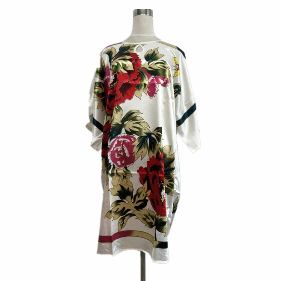Hot Sale White Female Faux Silk Bath Robe Gown Summer Lounge Looose Sleepwear Elegant Nightdress Women Sexy Nightgown One Size
