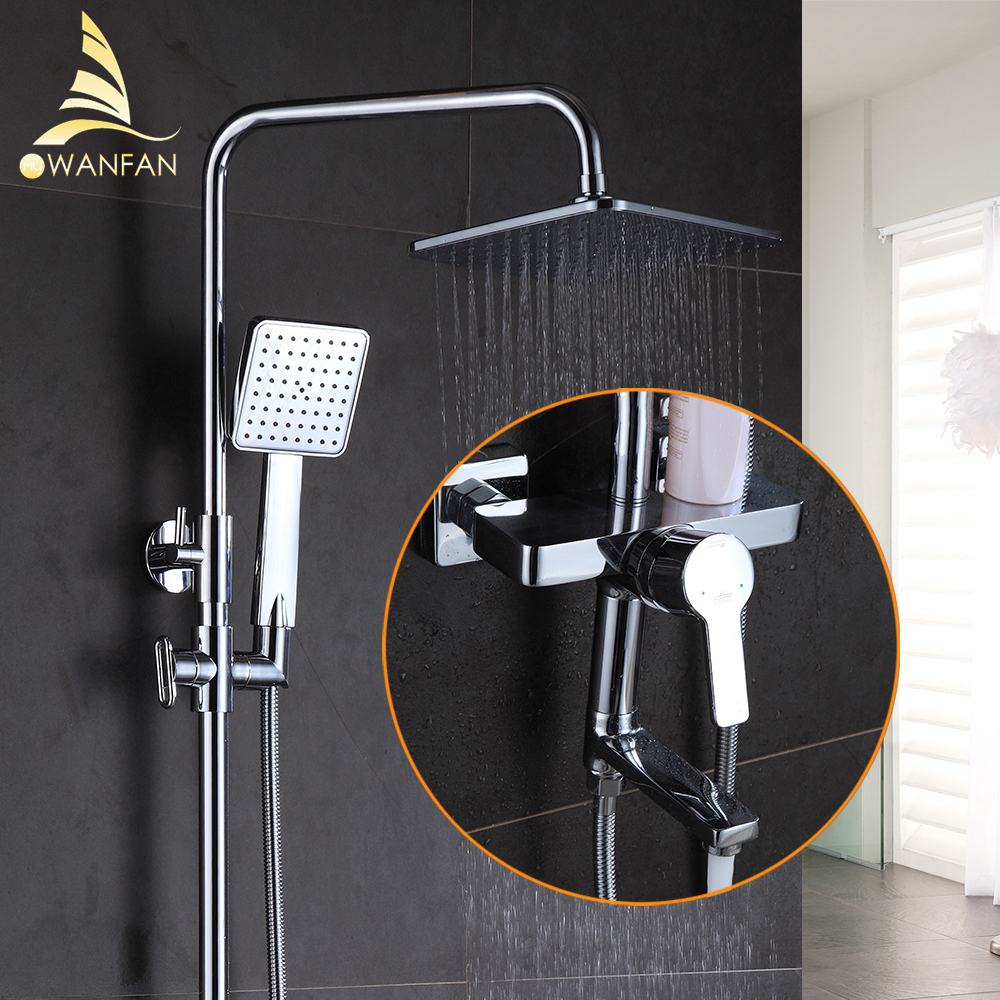 Shower Faucet Brass Chrome Wall Mounted Bathtub Faucet Rain Shower Head Square Handheld Slide Bar Bathroom Mixer Tap Set 877001