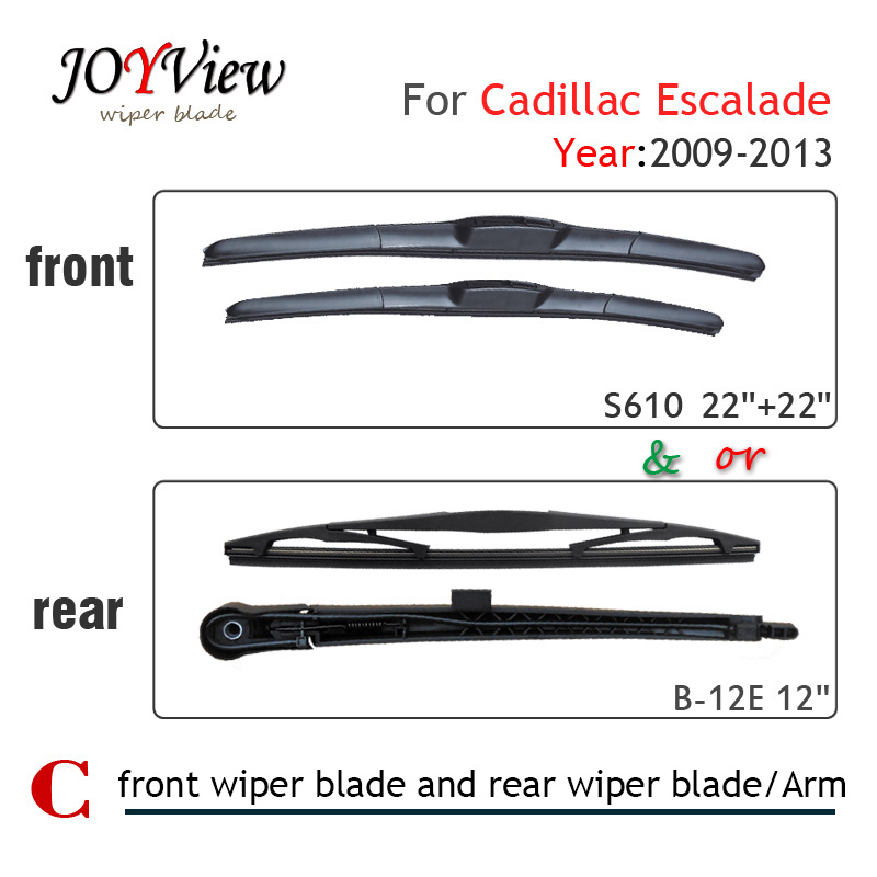 S610 Front Wiper Blade and Rear Wiper Arm Blade for Cadillac Escalade (2009-2013), 12 rear wiper blade for Cadillac Escalade