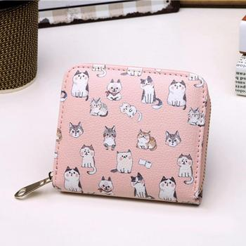 Vintage Cute Anime Cat Leather Women Slim Mini Wallet Girl Small Purse Female Coin Credit Card Holder Dollar Price wallet