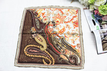 100% silk women Square scarf,Material:twill silk, size:52x52,Thickness 12mm Cashew flowers Brown