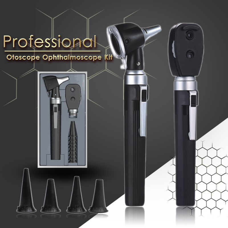 New Medical CE ENT Diagnostic Kit Portable Endoscope Opthalmoscope LED Otoscopio Direct Fiber Otoscope Ophthalmoscope