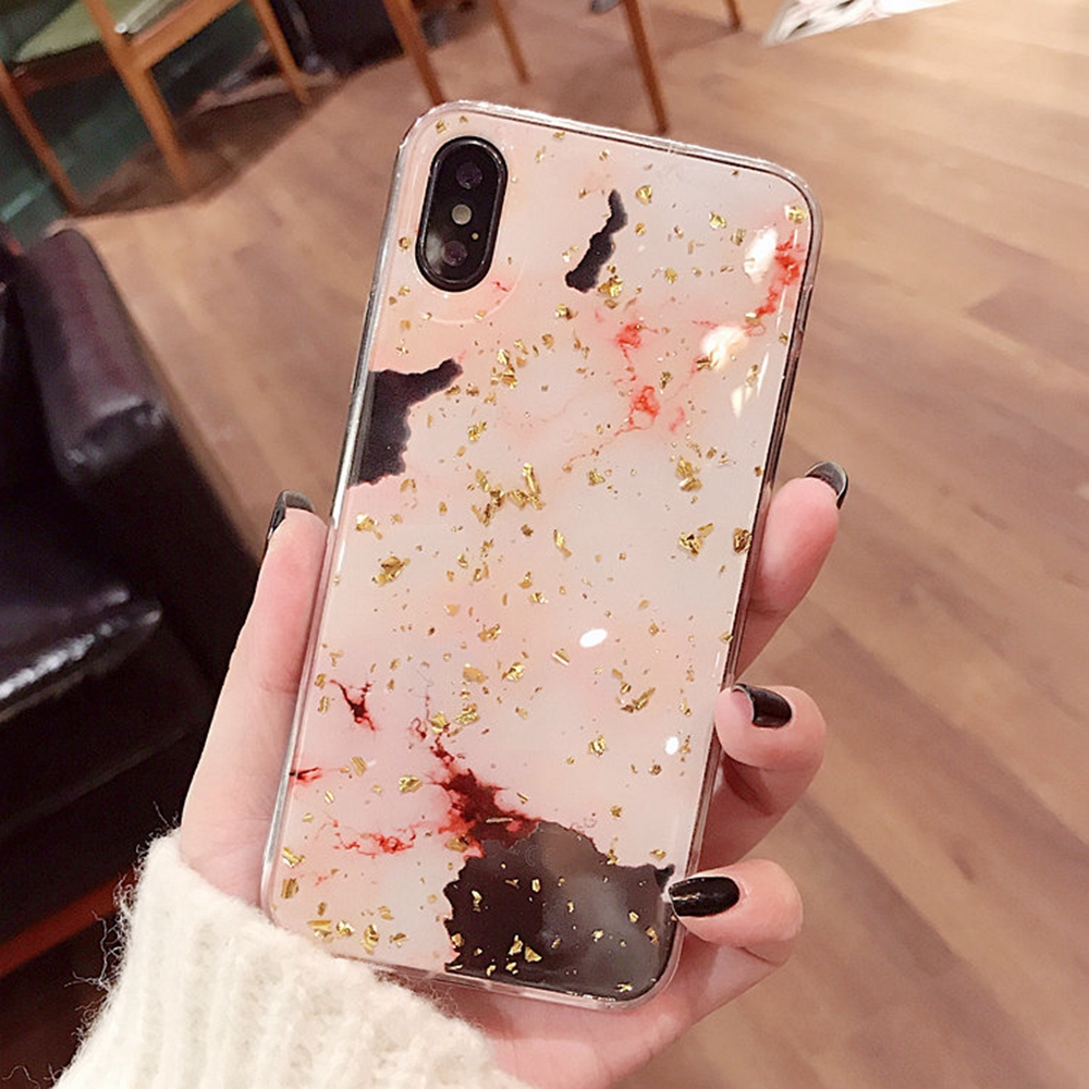 Gold Foil Bling Case For iPhone 7 8 Plus X XS XR Max Luxury Glitter Marble Cover For iPhone 6 6s Fashion Soft TPU Coque Cover in Half wrapped Cases from Cellphones Telecommunications