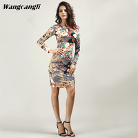 Wangcangli The New Style Europe And America 2018 Summer Sexy Leopard Print Rose V Neckline Fashion