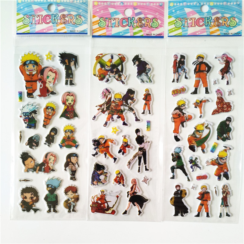6pcs Uzumaki Naruto Stickers Cute Pegatinas Hot Sell Children Cartoon hatake kakashi Sticker 3d Stereo Naruto Bubble Sticker sea wave stairs sticker 6pcs