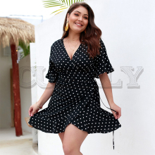 CUERLY Sexy polka dots ruffle women dress plus size Summer v neck sashes robe dresses Elegant flare sleeve female vestidos 2019