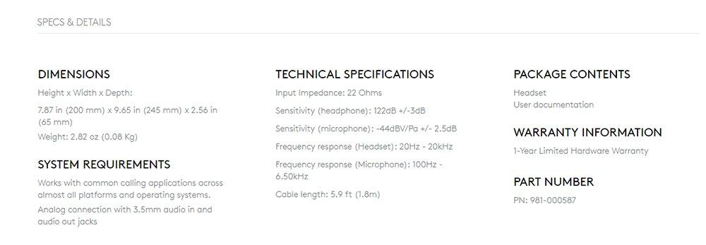 Стереонаушники logitech H151 с несколькими устройствами и встроенным управлением 1,8 м для аудио 3,5 мм