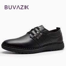 2017 new fashion men genuine leather shoes lace up anti slip