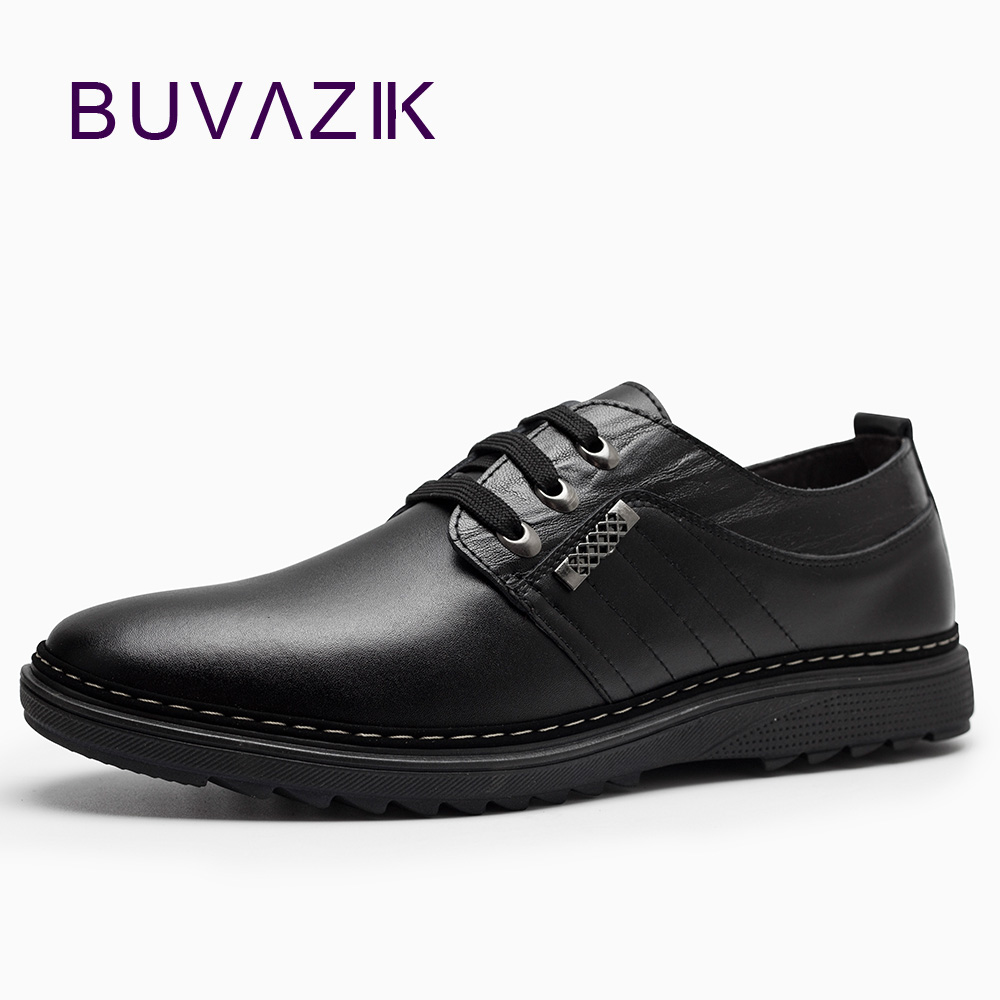 2017 new fashion men genuine leather shoes lace up anti slip heels casual footwe