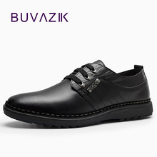 fashion men genuine leather shoes lace up anti slip flat heels casual footwear for male size 39-44