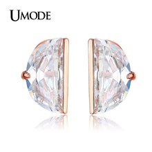 UMODE  Rose Gold Plated Fashion Jewelry Trendy 10mm Diameter Half Round CZ Stud Earrings Brincos Pendientes Mujer AUE0193A