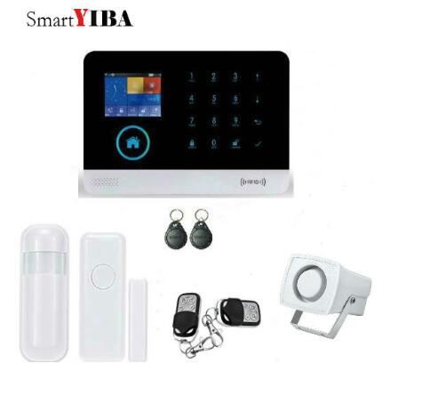 SmartYIBA APP Control WIFI GSM GPRS Home Alarm System Motion Alarm Door Sensor Wireless Security Alam System RFID SMS Alarm Kit smartyiba wifi gsm gprs alarm wireless home burglar security alarm system door window pir motion sensor android ios app control