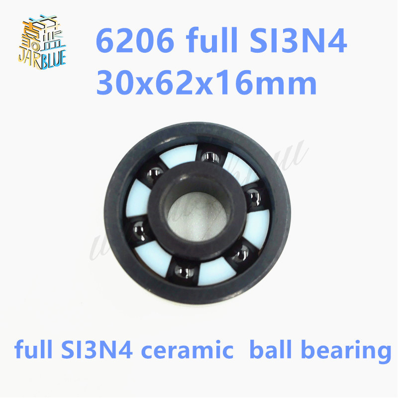 Free shipping 6206 full SI3N4 ceramic deep groove ball bearing 30x62x16mm 6206 2rs full zro2 ceramic deep groove ball bearing 30x62x16mm 6206 2rs