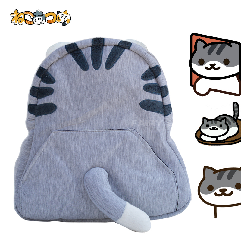 Japanese leisure Harajuku Game Neko Atsume cos cartoo Embroidery cute backpack Cat tail Cartoon creative gift Leisure bag kitty cat backyard neko atsume backpack comic periphery dual portable canvas shoulders bag cartoon accessory kids anime gift