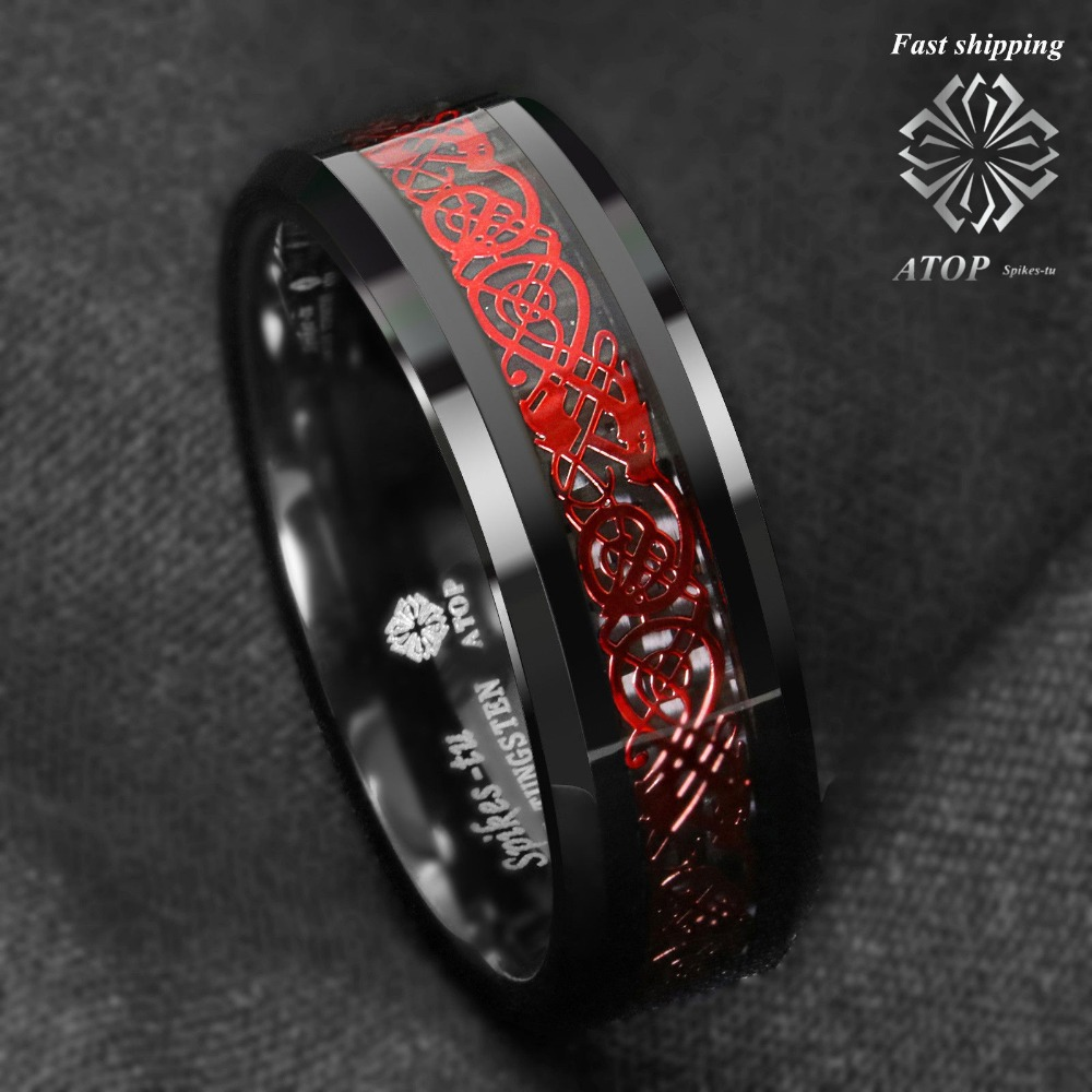 8mm Black Tungsten Ring Red Celtic Dragon Black carbon fibre Ring ATOP Jewelry