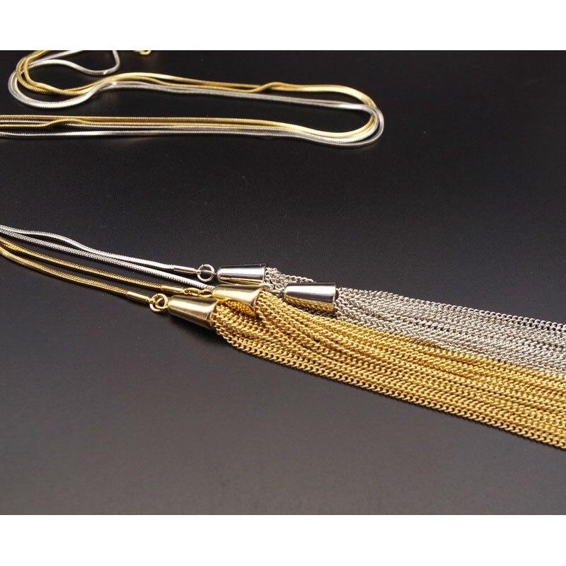 F.J4Z Moda Elegantna Zlatna Srebrna Duga Tassel Zmija Lanac Duks - Modni nakit - Foto 5