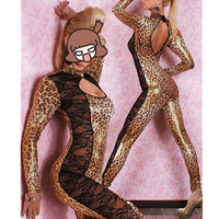 Women Sexy Faux Leather DS Clubwear Bodysuit Adult Latex PVC Leopard Catsuit Erotic Lingerie Halloween Cosplay