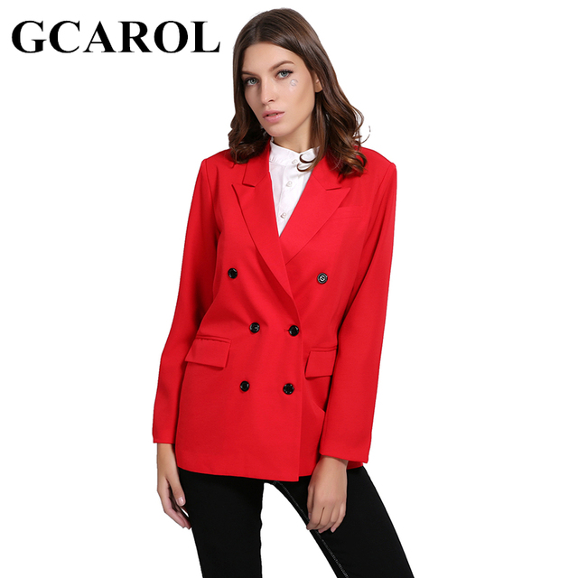 GCAROL New Arrival Spring Autumn Women Blazer Double-Breasted Button Notched Collar OL Work Office Suits Outwear