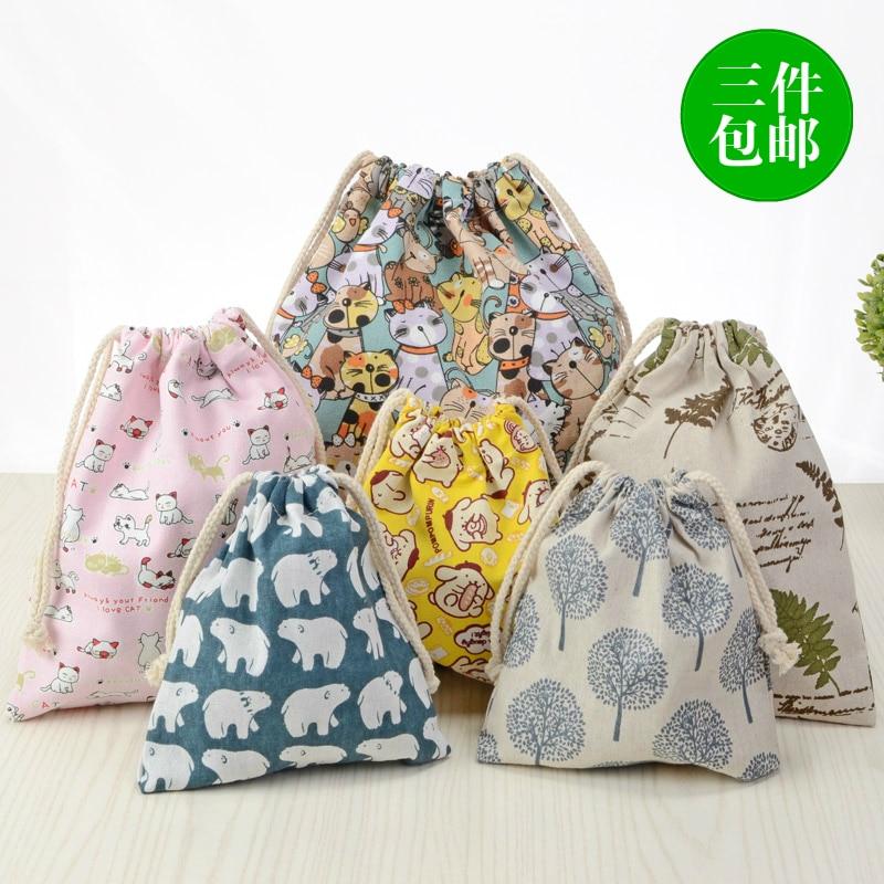 IVYYE Pure Color Flower Cartoon Drawstring Bags Canvas Storage Handbags Makeup Bag Coin Bundle Pocket Purse