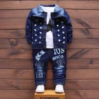 3 unids Carta de Algodón Estrellas Chaqueta + Camiseta + Jeans Otoño Invierno Infantil Trajes Niños Bebés Que Arropan sistemas recién nacido traje Formal
