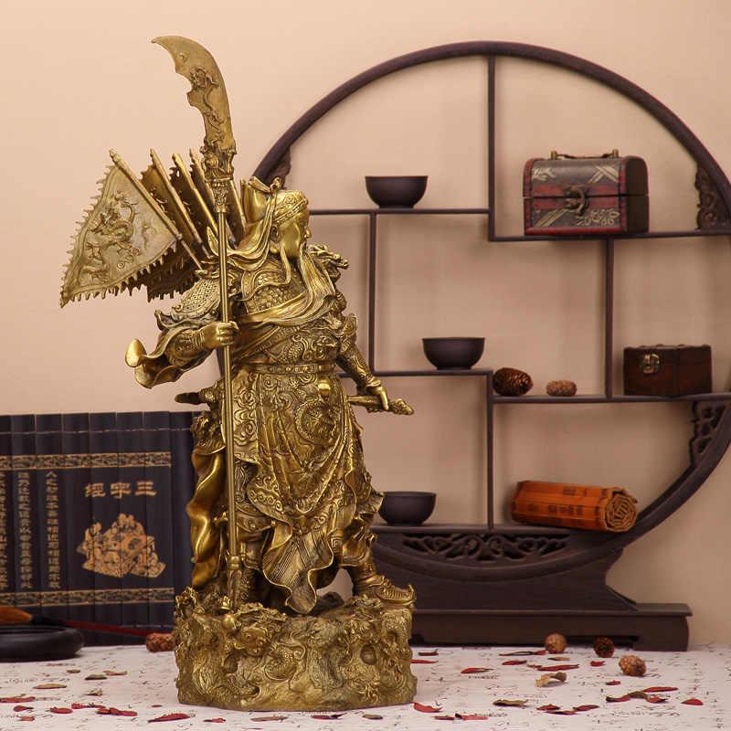 Besar patung perunggu Guan Gong Guan tembaga ornamen kerajinan Buddha Zhaocai martial dewa kekayaan