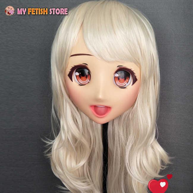 (Oliva-3) feminino doce menina resina meia cabeça kigurumi máscara dos desenhos animados cosplay anime japonês papel lolita máscara máscara de boneca crossdress