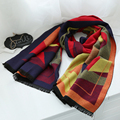 200x70 cm Mulheres Grosso Cachecol de Caxemira Contraste Geométrica Pashmina Inverno Bandana Quente
