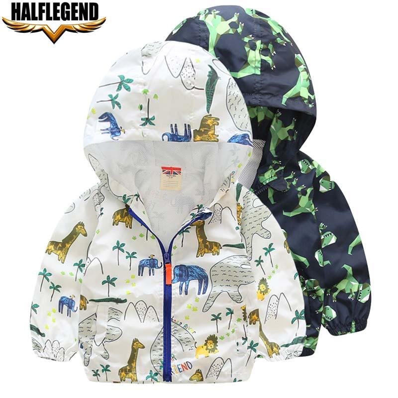 2018 Новинка весны для маленьких мальчиков куртка с капюшоном для девочек динозавр с животным принтом верхняя одежда милая ветровка для дете...