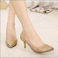 Hot Selling PVC Women Wedding Pumps Black Gold Silver Pointed Toe High Heel Shoes For Women