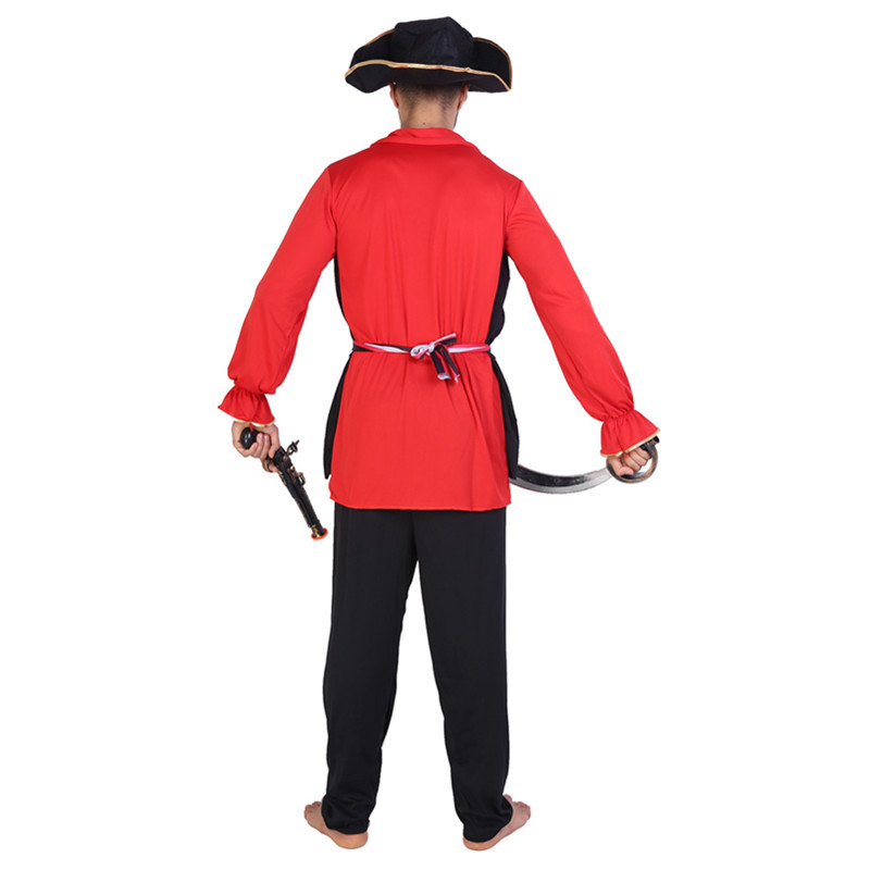 Adult Men Pirates of Caribbean Red Costume Halloween Cosplay Masquerade Clothes Male Performance Party Outfit Set With Hat