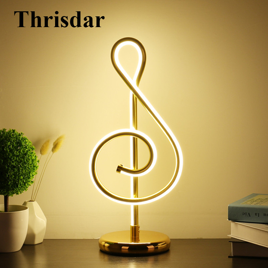 Thrisdar Musical Notes Creative LED Table Lamp Modern Art Bedroom Bedside Desk Table Light Lamp Living Room Study Reading Light цена
