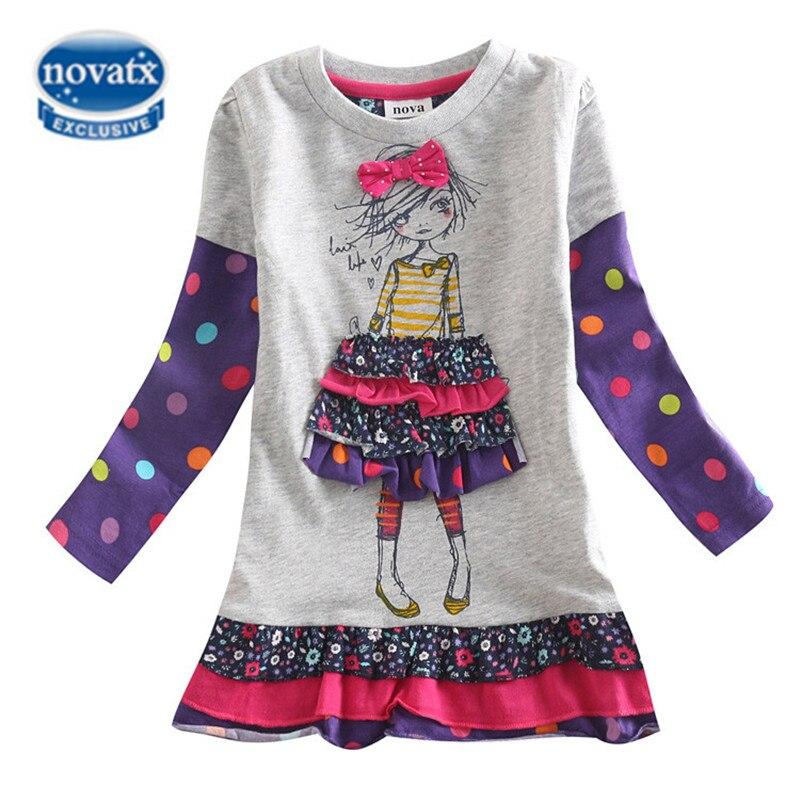 NOVATX dresses for girls children kids clothing spring autumn casual floral girls dress christmas dress roupas infantis menina