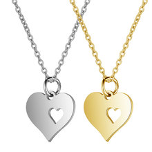 Stylish simplicity women necklace stainless steel Necklace Heart-shaped shape Pendant Necklace man Clothing jewelry gift a suit of stylish solid color heart shape letter carving pendant necklace for women