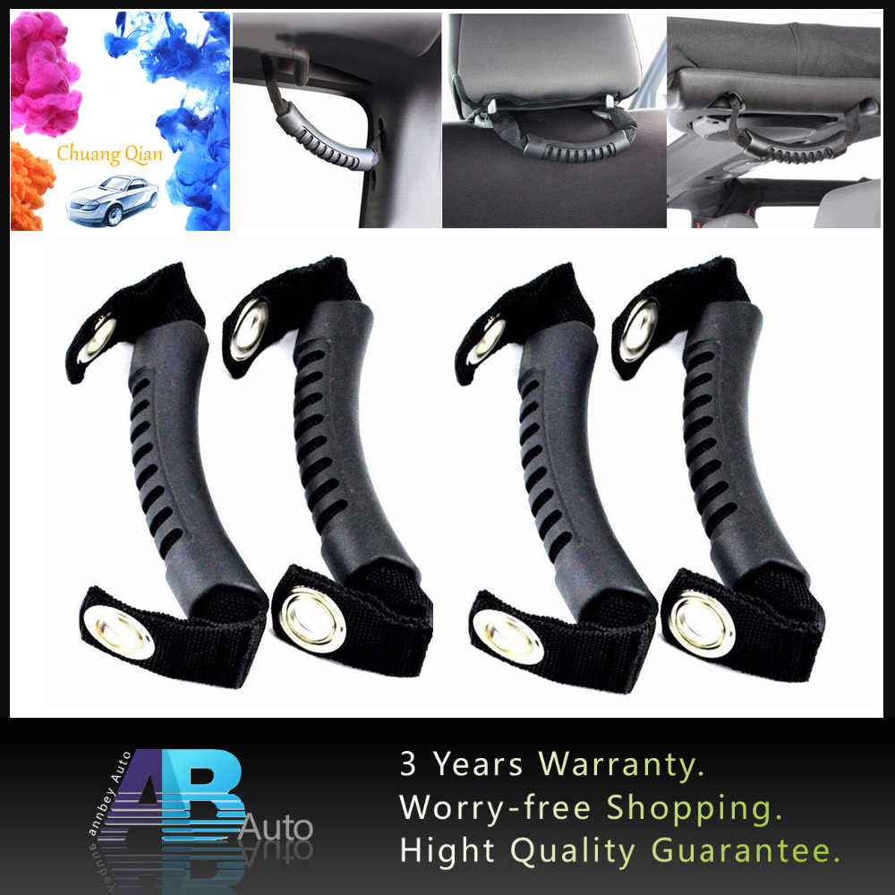 4pcs Car-styling Black Rubber Rear Side Grab Handle cover trim For 1987-2019 Jeep Wrangler JK Car Grab Grip handle accessories