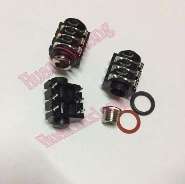 20PCS/Lot 6.35mm/6.35 Stereo Audio Microphone Female socket/Jack Connector 6P/6PIN